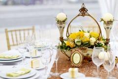 Tabelle stellte für eine Ereignispartei oder -Hochzeitsempfang ein Stockbilder