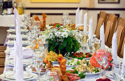 Tabelle stellte für eine Ereignisparty oder -Hochzeitsempfang ein Lizenzfreies Stockbild