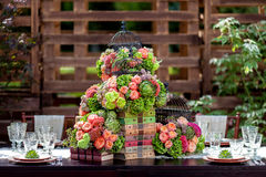 Tabelle stellte für eine Ereignisparty oder -Hochzeitsempfang ein Stockfotografie