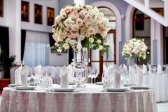 Tabelle stellte für eine Ereignisparty oder -Hochzeitsempfang ein Stockfoto