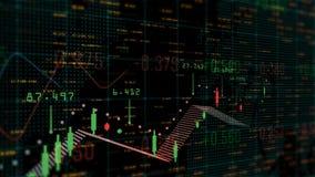 Tabelle und Balkendiagramm des Aktienkurvedevisenmarktindex-Animationshintergrundes stock abbildung