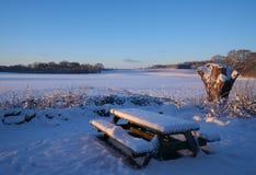 Tabelle und Bank im Freien stellten in den Schnee ein Stockbilder