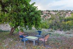 Tabelle und Stühle im Garten Lizenzfreies Stockbild