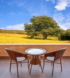 Tabelle und Stühle auf einer Terrasse, Ansicht über ein Feld mit Blumen und Baum Stockbild
