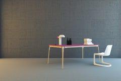 Tabelle und Stuhl im konkreten Raum Stockbilder