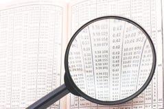 Tabelle und Zahlen unter Lupe Stockfotos