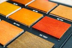 Tabelle von Proben des furnierten Holzes lizenzfreie stockfotografie