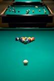 Tabelle, zum des Spiels in den Billiarden zu beginnen Lizenzfreies Stockbild
