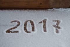 Tabellen 2017 auf dem Schnee Neues Jahr und Weihnachtsmotiv Stockbild