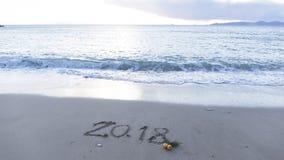 Tabellen 2018 auf dem Strand Stockfoto