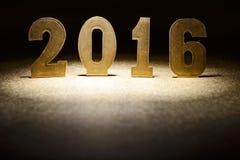 Tabellen 2016 auf einem Goldhintergrund Stockfotografie