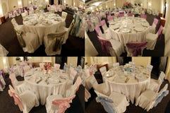 Tabellen in einem Hochzeitsballsaal, multicam, Schirm spalteten sich in vier Teilen, Gitter 2x2 auf Stockfoto