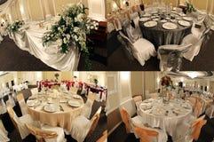 Tabellen in einem Hochzeitsballsaal, multicam, Schirm spalteten sich in vier Teilen, Gitter 2x2 auf Stockfotos