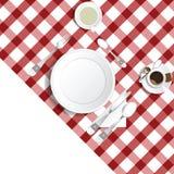 Tabellen för lunch med kaffe- och teillustrationen ställde in en vektor illustrationer