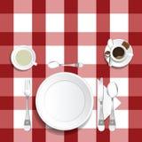 Tabellen för lunch med kaffe- och teillustrationen ställde in två royaltyfri illustrationer