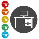 Tabellen-Ikonen-Vektor, Bürotischikone lizenzfreie abbildung