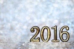Tabellen 2016 (neues Jahr, Weihnachten) in den hellen Lichtern Lizenzfreies Stockbild