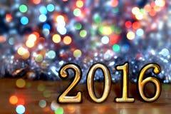 Tabellen 2016 (neues Jahr, Weihnachten) in den hellen Lichtern Stockbild