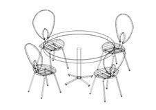 Tabellen och stolar ställde in den isolerade ritningen 3D - Arkivfoton