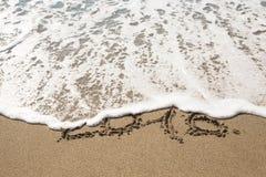 Tabellen Seewelle 2016 mit Schaum wäscht Sand auf dem Strand in Alan Stockfoto