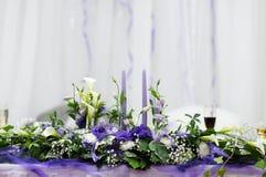 Tabellen ställde in för ett bröllopmottagande Arkivfoto
