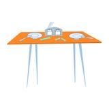 Tabellencafé mit Tischbesteck Stockbilder