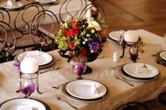Tabellendekor an einer Hochzeit 2 Stockbilder