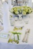 Tabellendekoration für Hochzeit Stockbild