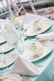 Tabellendetails von einer Hochzeit Stockfotografie