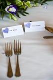Tabelleneinstellung an der Hochzeit Lizenzfreie Stockbilder