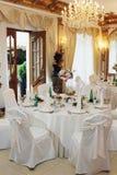Tabelleneinstellung an einem Hochzeitsempfang Lizenzfreie Stockfotografie
