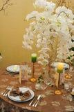 Tabelleneinstellung für Hochzeitsabendessen Lizenzfreies Stockbild