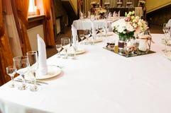 Tabelleneinstellung für Hochzeitsabendessen Lizenzfreie Stockfotografie