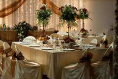 Tabelleneinstellung - Hochzeit Stockbild