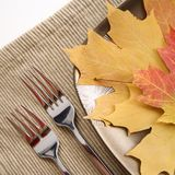Tabelleneinstellung mit Mehrfarbenblättern als Hauptmahlzeit. Stockbilder