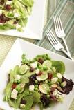 Tabelleneinstellung mit Salaten Stockbild
