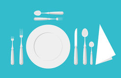 Tabellenetikette cutlery Gabeln, Löffel und Messer stock abbildung