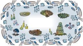 Tabellenlebensmittel-Hühnerpizza der Einladung festliche, stock abbildung