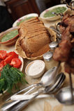 Tabellenverabredungen. Nahrungsmittelhintergründe Stockbild