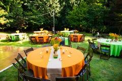 Tabeller för bröllopmottagande Arkivfoton