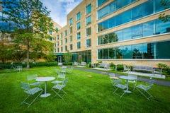 Tabeller och stolar och Tata Hall, på den Harvard Business skolan, in Royaltyfri Bild