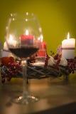Tabellgarnering med stearinljus för jul Royaltyfri Foto