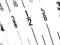 Tabellierprogramm in den Brüchen von Inches Lizenzfreies Stockbild