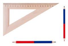 Tabellierprogramm und Bleistifte getrennt. Stockfotografie