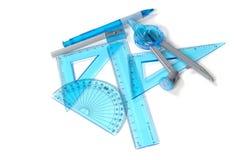 Tabellierprogramme, Dreiecke, Winkelmesser Lizenzfreies Stockfoto