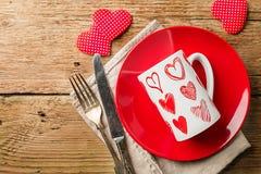 Tabellinställning för dag för valentin` s Royaltyfria Foton