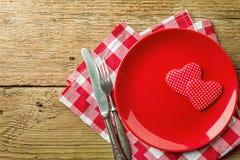 Tabellinställning för dag för valentin` s Arkivbild