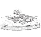 Tabellinställningsuppsättning Helgfrukost eller matställe Fotografering för Bildbyråer