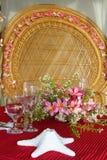 Tabellmittstycke. bröllopgarnering Arkivfoton