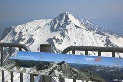 Tabellone per le affissioni al ghiacciaio di Hintertux in Austria Fotografia Stock Libera da Diritti